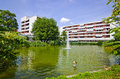 Residential area with park complex in the city of heidelberg germany along a green Royalty Free Stock Photography