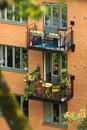 Residential balconies with cute colorful furniture and decoration sweden swedish design Stock Images