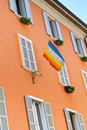 Residential building in Italy with peace flag Royalty Free Stock Photography
