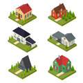 Residential Building Set Isometric View. Vector