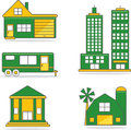 Residential commercial structures illustrations Stock Images