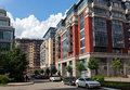 Residential complex four suns moscow russia buildings of the new in the center of Stock Images