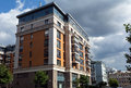 Residential complex four suns moscow russia corner building of the new in the center of Royalty Free Stock Photos