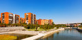 Residential district on the banks of manzanares river madrid spain Royalty Free Stock Image