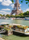 Residential house barge on the Seine near the Eiffel Tower Royalty Free Stock Photo