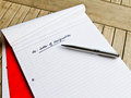 Resign from job the heading for letter of resignation Stock Photo