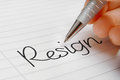 Resign word concept background on paper Royalty Free Stock Image