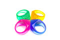 Resin pyramid rings colorful of four on isolate white background Royalty Free Stock Photo
