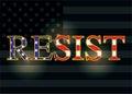 Resist Slogan over American Flag Illustration