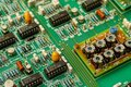 Resistors and electronics on board. Royalty Free Stock Photo