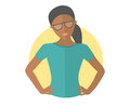 Resolute black pretty girl in glasses. Lets do it concept. Flat design icon. Decisive woman with arms akimbo. Simply editable isol