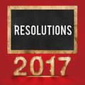 2017 resolutions wood texture number with Goals word on blackboard Royalty Free Stock Photo