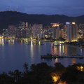 Resort of acapulco pacific coast of mexico night view the port and on the southern Stock Images