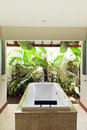 Resort bathroom shower semi outdoors Royalty Free Stock Photo