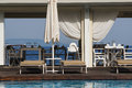 Resort facilities for summer holyday pool restaurant near the beach Royalty Free Stock Images