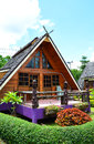 Resort in a garden house wood Royalty Free Stock Images