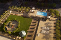 Resort hotel swimming pool overhead view of guest and guest park facilities Stock Photography
