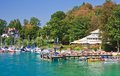 Resort krumpendorf am worthersee and lake worth austria view of Royalty Free Stock Photography