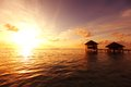 Resort maldivian houses sunrise Stock Photography
