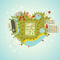 Resort planet in shape of heart vector illustration Stock Photos