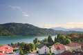 Resort portschach am worthersee austria and lake Royalty Free Stock Photo