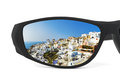 Resort reflection in sunglasses isolated on white background Royalty Free Stock Photography