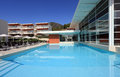 Resort swimming pool into a modern in the south of italy Royalty Free Stock Photo