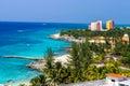 Resorts dot shoreline on Caribbean island Royalty Free Stock Photo