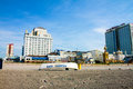 Resorts and taj mahal from the beach in atlantic city just off you can see international Royalty Free Stock Photography