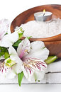 Resources for spa, white towel and flower Stock Photos