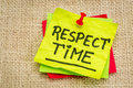 Respect time reminder note handwriting on a sticky against burlap canvas Royalty Free Stock Photos