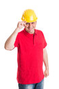 Respectful builder and polite making welcome salute Royalty Free Stock Photo