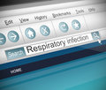 Respiratory infection concept illustration depicting a screenshot of an internet search with a Royalty Free Stock Photo