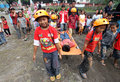 Response training held some children displaced by the eruption of mount merapi disaster by the palang merah indonesia pmi in Stock Photography