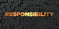 Responsibility - Gold text on black background - 3D rendered royalty free stock picture