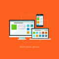 Responsive design flat web infographic technology online service application internet business concept vector. Royalty Free Stock Photo