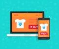 Responsive internet shop development, design, online store web site page showed on laptop and smartphone