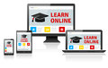 Responsive web design on different devices - LEARN ONLINE Royalty Free Stock Photo