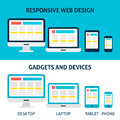 Responsive Web Design Gadgets and Devices Flat Concept Royalty Free Stock Photo