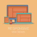 Responsive web design on orange background Royalty Free Stock Photography