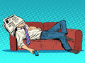 Rest fatigue sleep on the couch Siesta Royalty Free Stock Photo