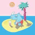 Rest on the island rhinoceros has a desert Royalty Free Stock Image