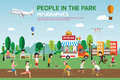 Rest in the park infographic elements flat vector design. People