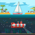 Rest on the sea vector flat illustration Stock Photography