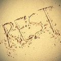Rest word written on the sand retro style filtred image Royalty Free Stock Photos