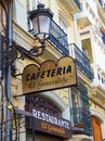 Restaurant and apartment buildings valencia in s old town spain Royalty Free Stock Image