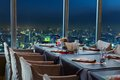 Restaurant in bangkok at night with the window Royalty Free Stock Images