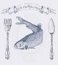 Restaurant banner with herring and cutlery Royalty Free Stock Photo