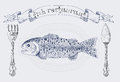 Restaurant banner with rainbow trout and vignette Royalty Free Stock Photo