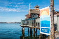 Restaurant and Banner at Seaport Village in San Diego Royalty Free Stock Photo